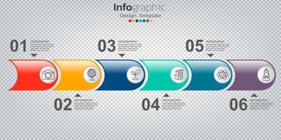 Infografik im Geschäftskonzept mit 6 Optionen, Schritten oder Prozessen. vektor