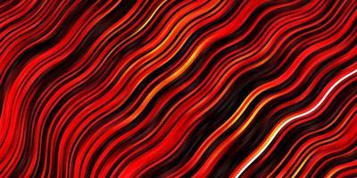 mörk orange vektor mönster med böjda linjer.