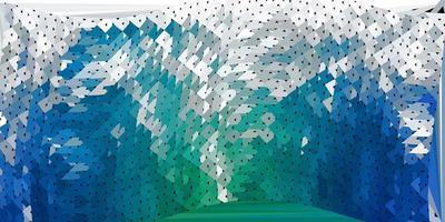 abstrakter Dreieckhintergrund des dunkelblauen, grünen Vektors.