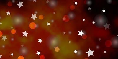 dunkelorange Vektormuster mit Kreisen, Sternen. vektor