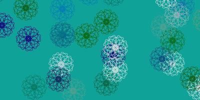 hellblaue, grüne Vektor-Gekritzelschablone mit Blumen.