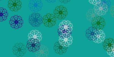 ljusblå, grön vektor doodle mall med blommor.