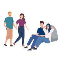 grupp av ungdomar avatar karaktärer