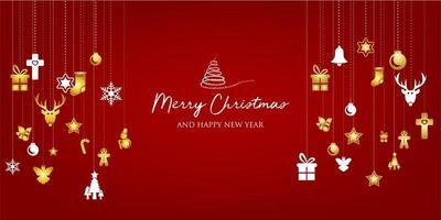 jul banner med bakgrund och juldekorationer. text god jul och gott nytt år.