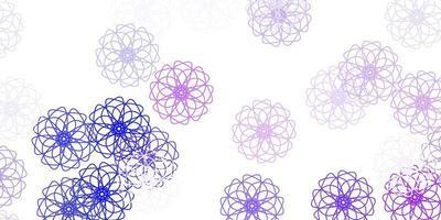 ljusrosa, blå vektor doodle textur med blommor.