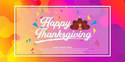 Hand gezeichnetes glückliches Erntedankfest Typografieplakat mit farbigem Hintergrund. vektor
