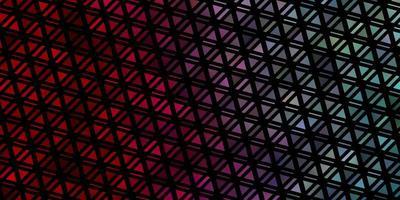 hellblaue, rote Vektorschablone mit Kristallen, Dreiecken.