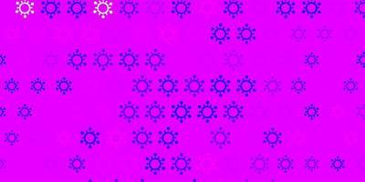 hellviolettes, rosa Vektormuster mit Coronavirus-Elementen.