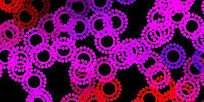 dunkelrosa, roter Vektorhintergrund mit Virensymbolen