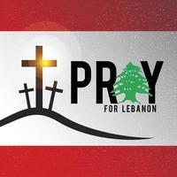 Libanon Flagge mit beten für Beirut Konzept. vektor