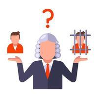 ein Richter, der über die Schuld einer Person entscheidet vektor
