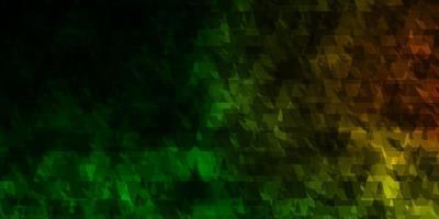 dunkelgrüner, roter Vektorhintergrund mit Linien, Dreiecken.
