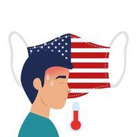 ansiktsmask med usa flagga och man med covid-19 symptom vektor