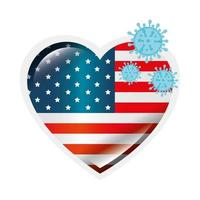 USA-flagga och koronavirusförebyggande kampanj