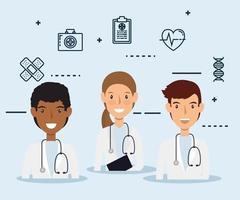 hedvårdspersonal med medicinska ikoner