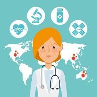 hedvårdsarbetare med medicinska ikoner