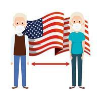 USA flagga och social distanskampanj