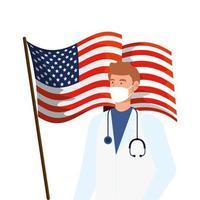 läkare med ansiktsmask och usa flagga vektor
