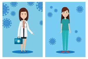 Gesundheitspersonal mit Coronavirus-Symbolen vektor