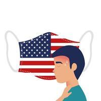 ansiktsmask med usa flagga och man med covid-19 symptom