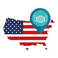 USA-karta och koronavirusförebyggande kampanj