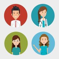 Gruppe von Sanitätern und Ärzten Ikonen vektor