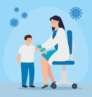 Arzt, der einem Patienten einen Impfstoff verabreicht vektor