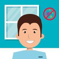 hedvårdspersonal med coronavirus-ikonen