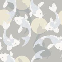 nahtloses Muster mit Karpfen-Koi-Fisch und Sonne, traditionelle japanische Kunst vektor