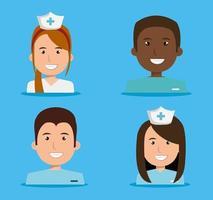 sjuksköterskor karaktärsuppsättning vektor