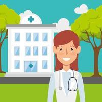 vårdarbetare och sjukhusbyggnad