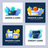uppsättning kreditkortsbetalningsdesigner vektor