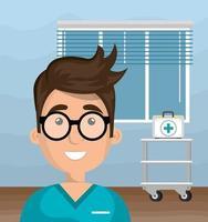 Gesundheitspersonal in einem Krankenzimmer vektor