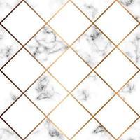vektor marmor konsistens, sömlös mönster design med vita rutor och gyllene geometriska linjer, svart och vit marmor yta, modern lyxig bakgrund
