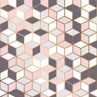 vektor marmor konsistens, sömlös mönster design med gyllene kuber geometrisk mönster bakgrund