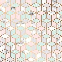Vektor-Marmor-Textur, nahtloses Musterdesign mit geometrischem Musterhintergrund der goldenen Würfel vektor