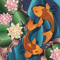 Karpfen-Koi-Fische, die in einem Teich mit Seerose schwimmen vektor