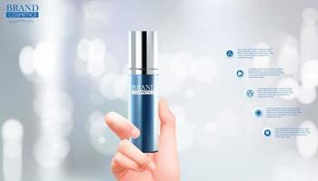 Frauenhand hält kosmetisches Produkt auf bokeh Hintergrund vektor
