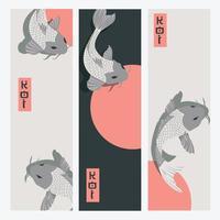 Drei vertikale Banner mit Karpfen-Koi-Fischen, die um die Sonne schwimmen vektor