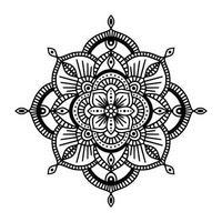 svartvit blommig etnisk mandala, på vit bakgrund