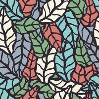 sömlösa mönster med handritade naturliga blad vektor