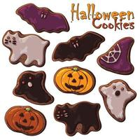 halloween sötsaker temauppsättning av olika typer av halloween kakor