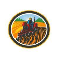 bonde som kör traktor plöjer fältcirkel retro vektor