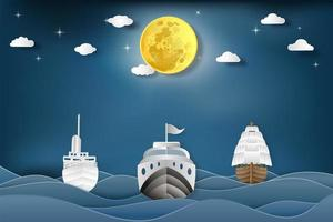 Boote auf See und Vollmond in der Nacht als Kommunikations-, Transport- und Reisekonzept. vektor