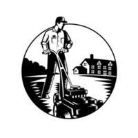 Gärtner mäht mit Rasenmäher und Hauskreis Holzschnitt schwarz und weiß vektor