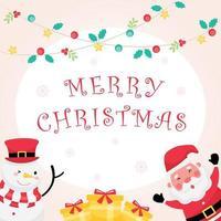 Pastellgrußkarte mit frohen Weihnachtstext, Weihnachtsmann, Schneemann und Geschenk vektor