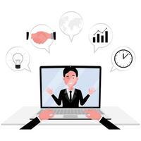 Online-Kommunikation mit einer Person, die an einem Meeting am Computer teilnimmt vektor