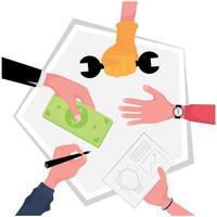 Hände von Menschen, die zusammen auf dem Tisch arbeiten vektor