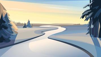 gefrorener Fluss bei Sonnenuntergang. vektor