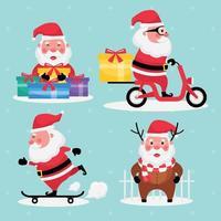 Satz Weihnachtsmann mit Geschenk, Motorradfahren und Skateboard auf hellblauem Hintergrund vektor